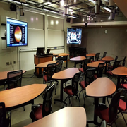 classroom tables and tv