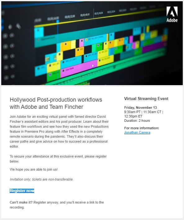 Adobe invitation to upcoming event