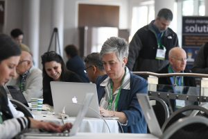 woman at computer at annual conference
